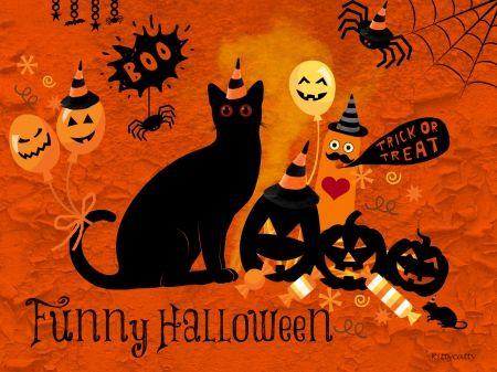 funny halloween cats wallpaper id 1208457 desktop nexus - Halloween Party Wallpaper