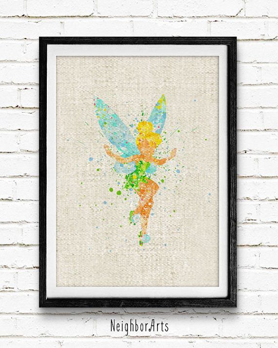 Disney Tinker Bell Peter Pan Fairy Poster Watercolor Painting Wall Art Print Birthday Gift Baby Room Nursery Decor Kids Decor 127