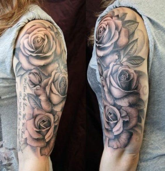 Тату на плече у девушки - розы и надпись