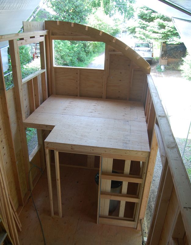Tiny House on Wheels - Build in process - the sitting loft above the office