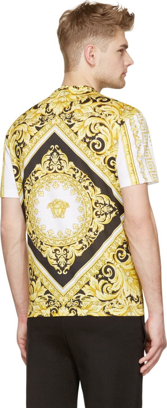 Versace White & Gold Baroque Medusa Print T-Shirt