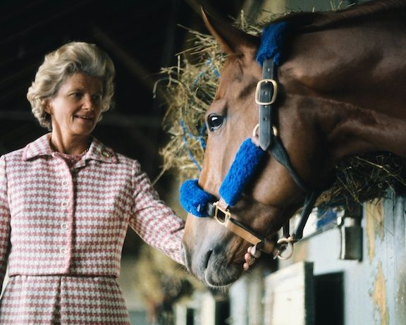 Perhaps the most touching color photo taken of Secretariat and his owner Penny Chenery. As seen in the final epilogue in the new Disney movie, this poignant image expresses the mutual affection and respect shared between Big Red and the Mistress of the Meadow.