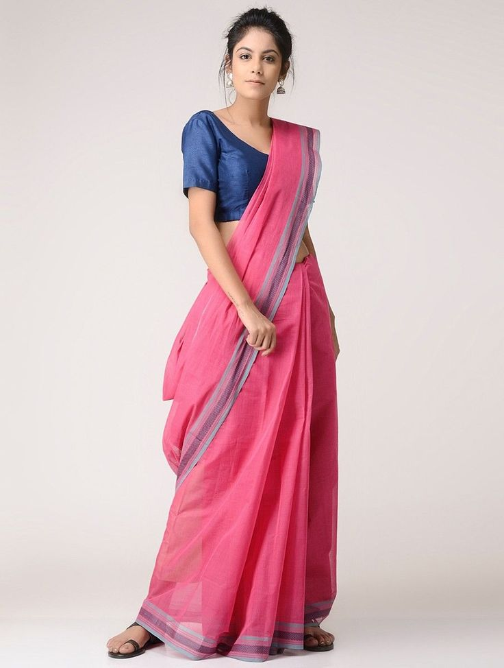 $57 Pink Grey Cotton Saree Sarees Woven Tales Handwoven sarees: Mangalgiris Chettinad Kanchi and more Online at Jaypore.com