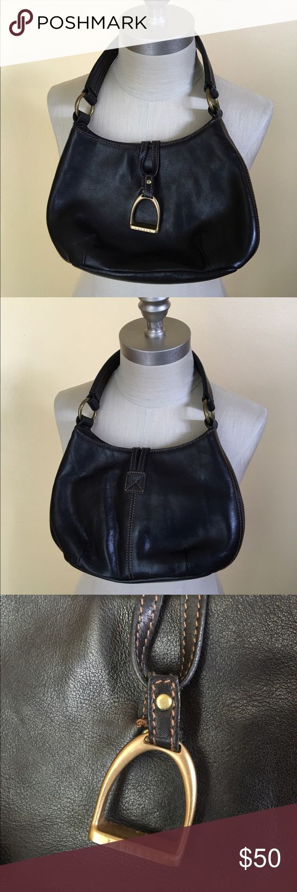 """equestrian style handbag what a joyful little handbag! so chic with its tiny english stirrup closure, this bag is the perfect size for a night out, or how about a day at the races! tolly ho! (genuine leather, 10"""" across, 7"""" tall, 3"""" wide, 8"""" strap drop, immaculate condition) Lauren Ralph Lauren Bags Mini Bags"""