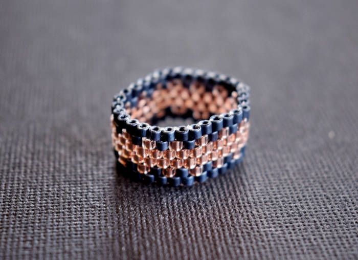 Metallic Matte Blue Gray and Crystal Copper, Minimalist Ring, Gift for her, Festival Ring, Statement Ring, Modern band ring by mariellascode on Etsy