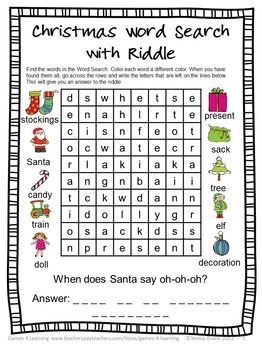Christmas Word Search with a difference! Find the words then find the riddle! $ Christmas Literacy Puzzles and Games is a collection of Christmas word puzzles and word games from Games 4 Learning.