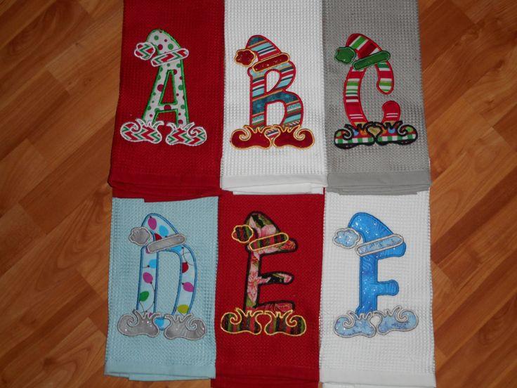 Santa Elf Initial - Example Towel  (SALE) by aqtpursecover on Etsy https://www.etsy.com/listing/251895593/santa-elf-initial-example-towel-sale