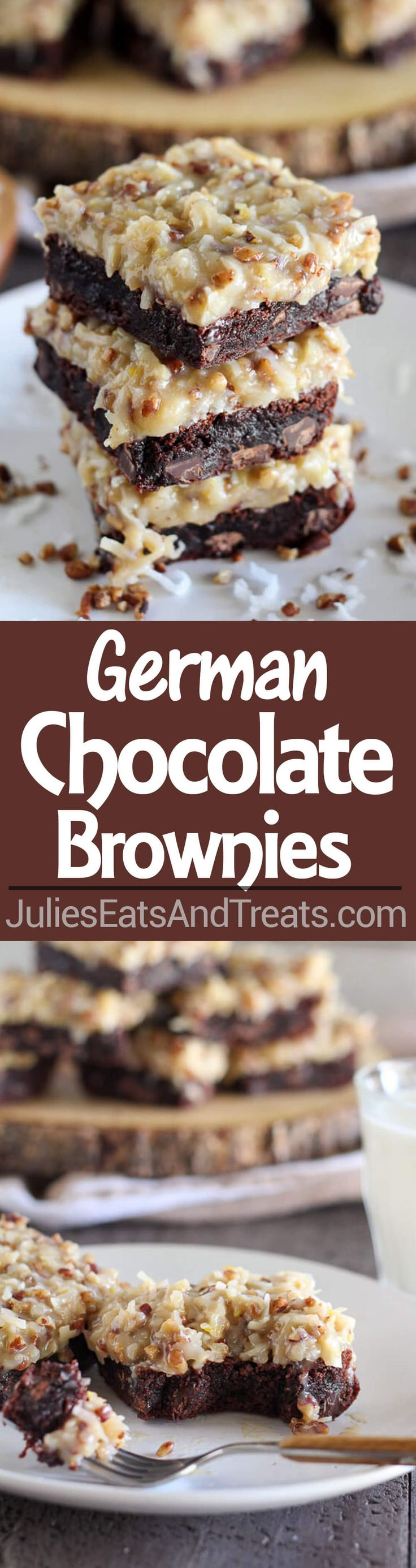 German Chocolate Brownies | Julie's Eats & Treats | Rich chocolaty brownies topped with a gooey homemade coconut pecan frosting. Make the brownies from scratch, or use a boxed brownie mix as the base of this recipe. You'll love this decadent dessert!