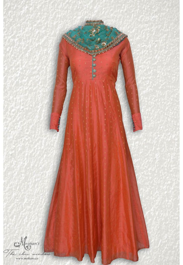 Elegant rust ensemble complemented with heavy sippi work dupatta