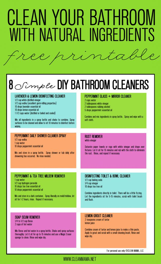 Skip the chemicals when it comes to cleaning with these DIY bathroom cleaners. FREE printable included!