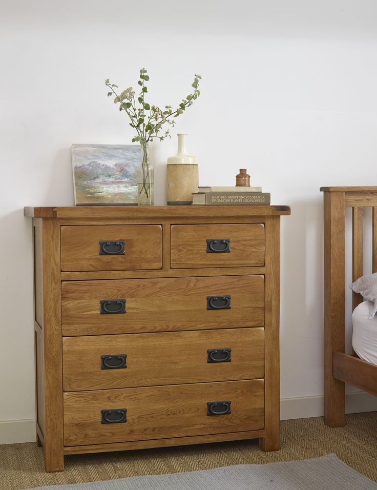 Original Rustic Solid Oak three + two Chest of Drawers is a traditionally styled, elegant addition to the bedroom. Providing ample storage across five drawers of varying sizes, when placed alongside one of our Rustic wardrobes, even the most extensive collection of clothing will find a home.