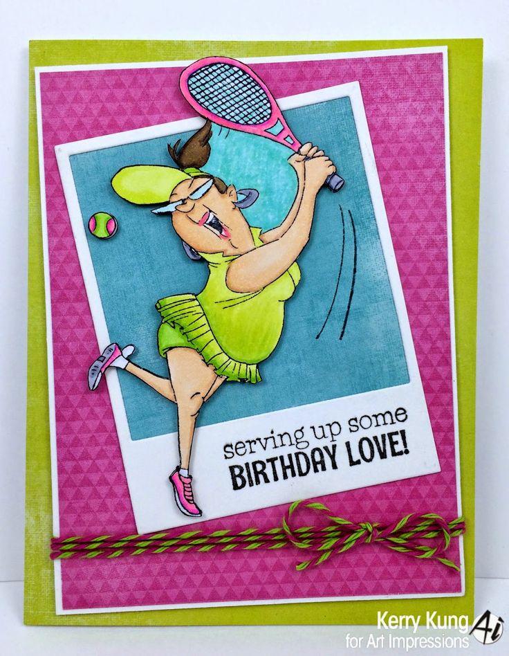 Art Impressions Ai People Birthday Love set (SKU#4529) Handmade tennis sports themed card.