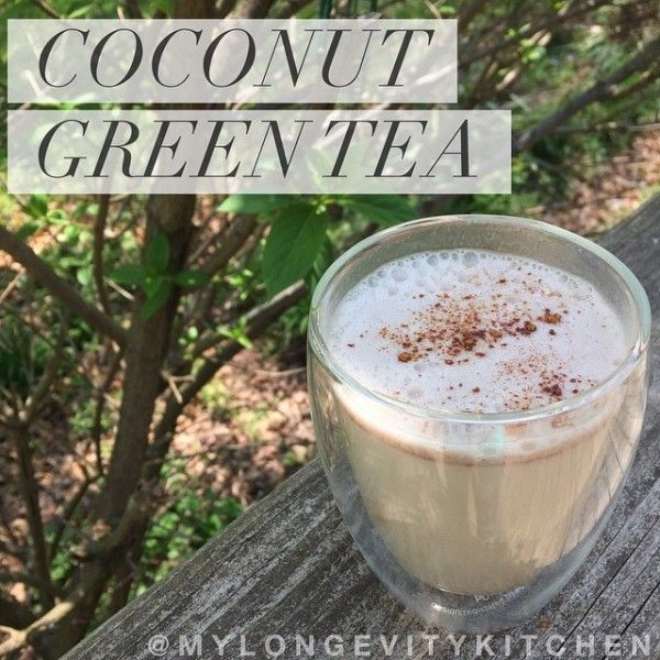 Boost Cognitive Function with this coffee alternative by My Longevity Kitchen!  Blending together green tea with coconut oil and protein powder makes this frothy warm vanilla drink so memorable.