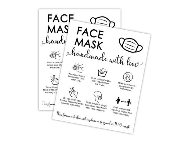 Printable Face Mask Care Card Handmade Face Mask Tag Cloth Etsy In 2021 Face Mask Letter Size Paper Fashion Face Mask