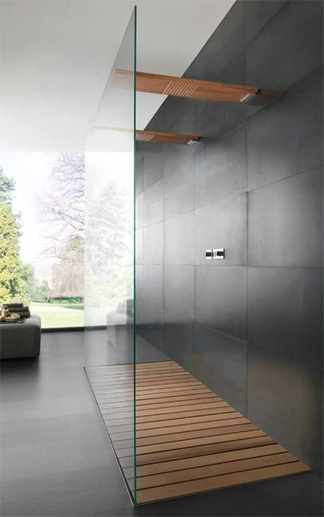 Yes, as always I am a little bias but I love using timber in the bathroom  whether it be a solid timber vanity, a mirror surround or a shaving  cabinet. The latest trend in timber in the bathroom is as a shower base!  It is a lot more comfortable on the feet than cold tiles, a great way to  vi