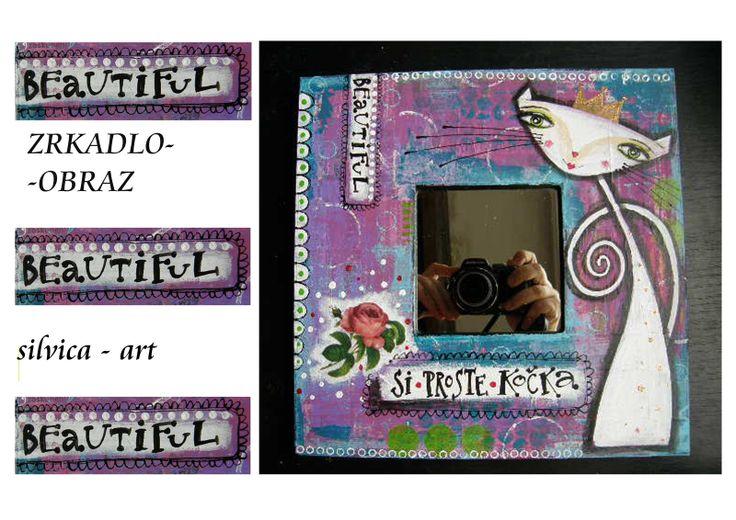 Zrkadlo-obraz ,,Zlepšovač rannej nálady,,♥♥♥ originál koláž - akryl na dreve rozmer 25x25 cm zozadu dierka na zavesenie