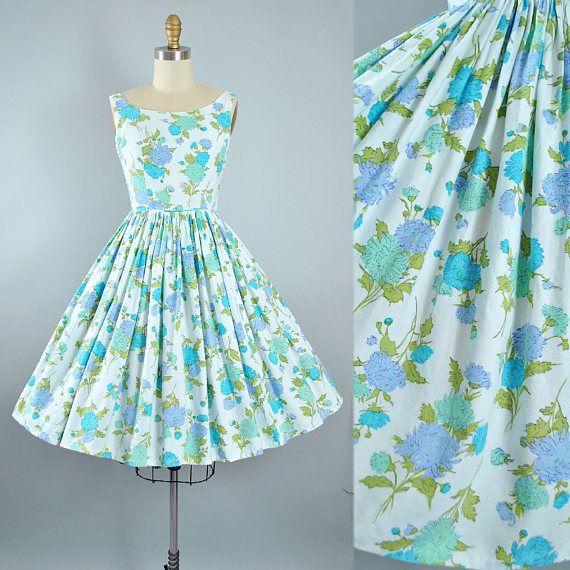Vintage 1950s Dress / 50s Cotton Pique Sundress Lilac Purple