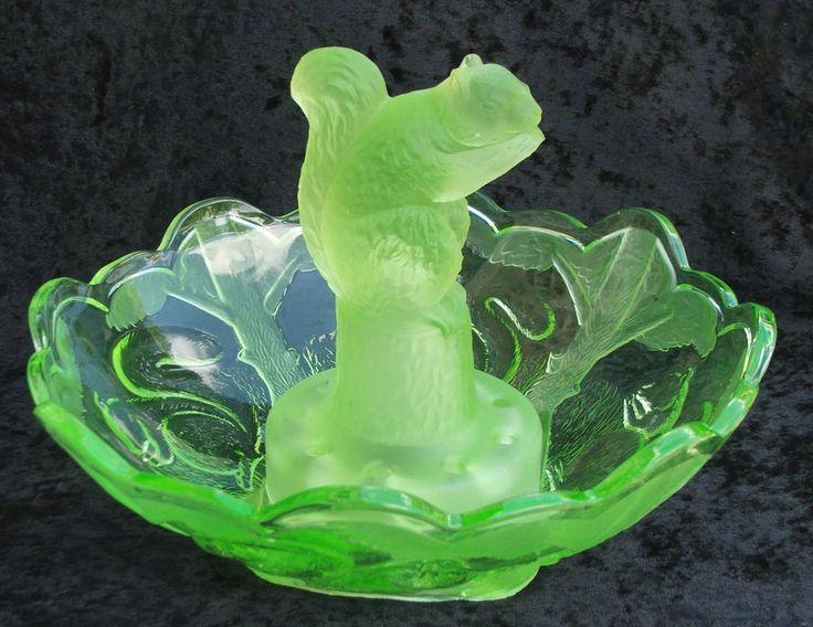 Sowerby Art Deco Uranium Vaseline Glass Squirrel Float Bowl Art Deco Vaseline And Art