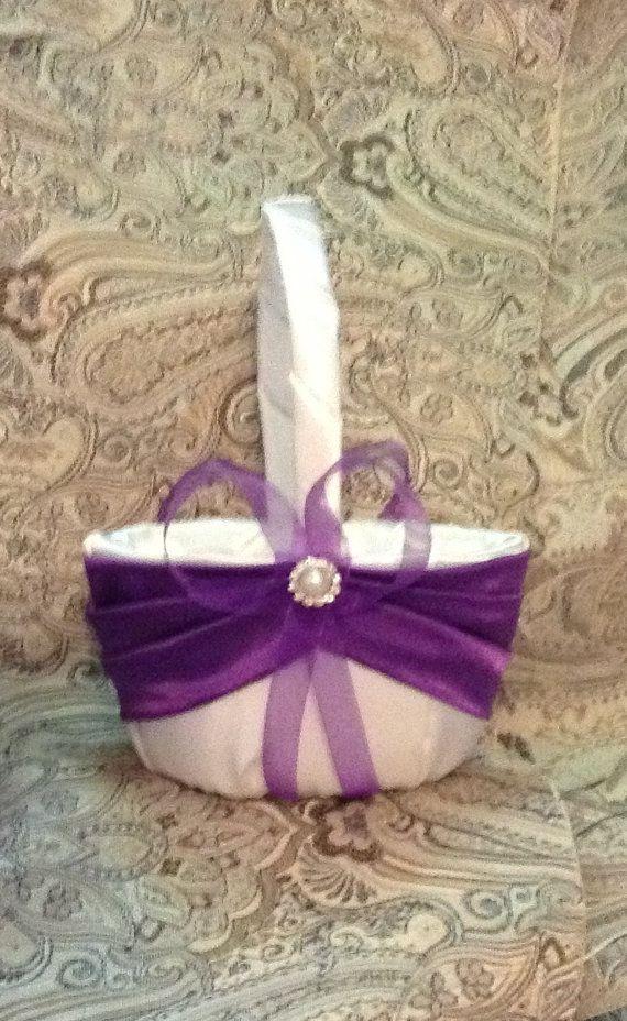 wedding flower girl basket ivory or white with royal by irmart, $18.99 #detalles de #boda #regalos#original