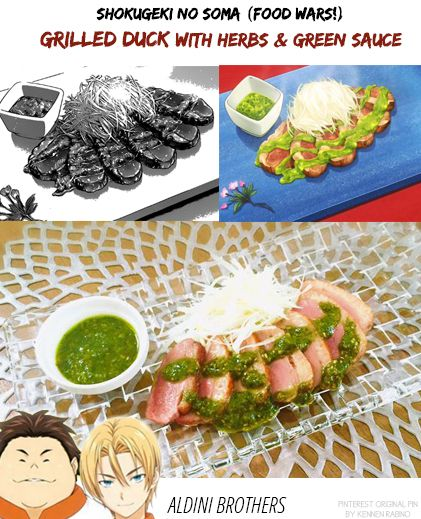 39 best shokugeki no soumas recipes images on pinterest japanese shokugeki no soma food wars grilled duck with herbs and green sauce forumfinder Image collections