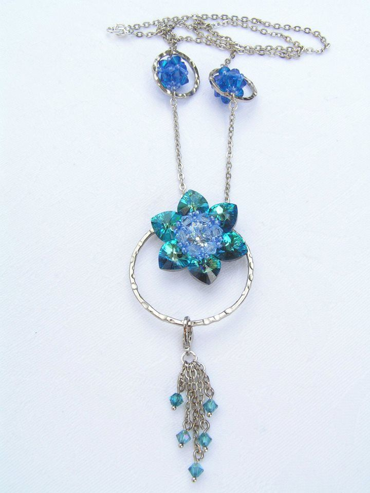 Lotus - Blue Azure necklace  --    The chain is 50 cm long.  The pendant is 4 cm long (The removable hanging is + 4.5 cm long)