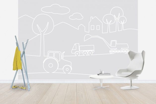 Country Life Lines - Grey - Wall Mural & Photo Wallpaper - Photowall - Sne Design