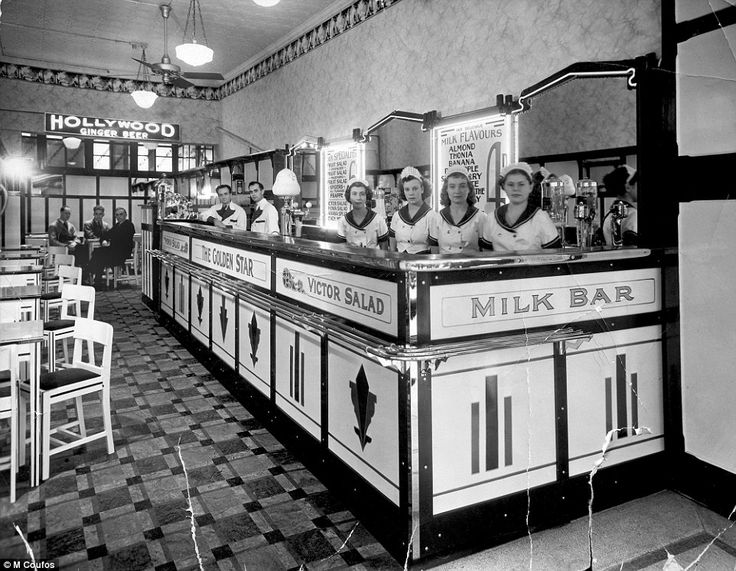 Perth's first milk bar, the Golden Star Milk Bar in Perth operated by Stavros and John Coufos, who are pictured in the centre behind the counter, opened in 1935. The brothers, from the Greek island of Kastellorizo, sparked a string of similar establishments across the city