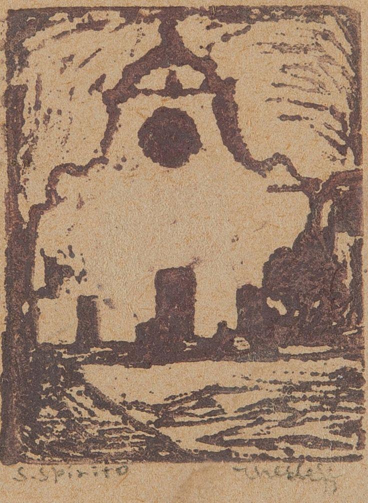 Ellen Thesleff (Finnish, 1869-1954) - SANTO SPIRITO, FLORENCE - Woodcut, 5x4 cm.