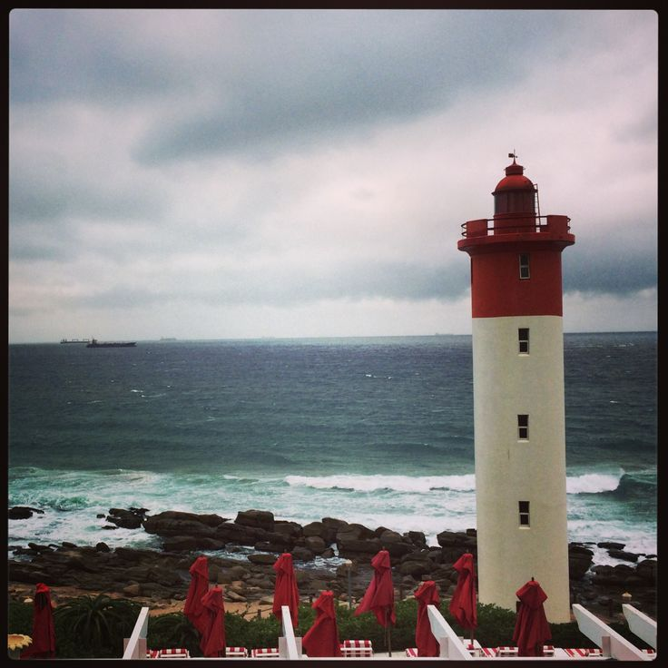 The view from The Oyster Box, Umhlanga, Durban never disappoints, even on a gloomy day! #OysterBox #Lighthouse #Durban