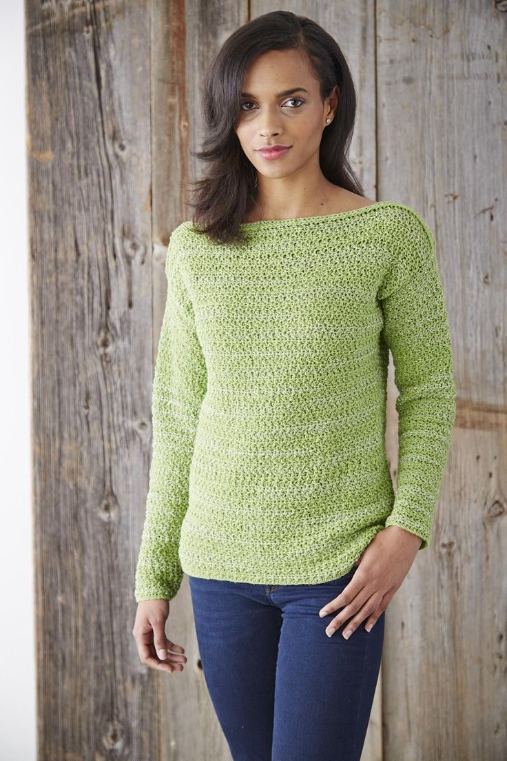 Free Knitting Patterns For Adults Sweaters : Yarnspirations.com. Patons boat neck pullover. Free pattern. Crochet Gleani...