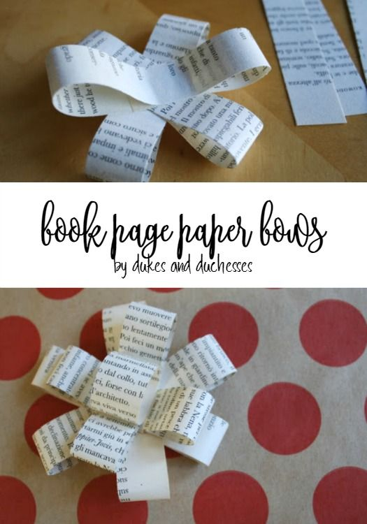 upcycled book page paper bows