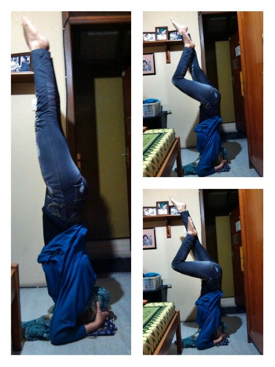With a lot of support from my husband…, me able to hold this #SupportedHeadstand for 5 breaths…  Makasih cinaaaaakkk, i love youuu…   #Namaste #YogaPractice