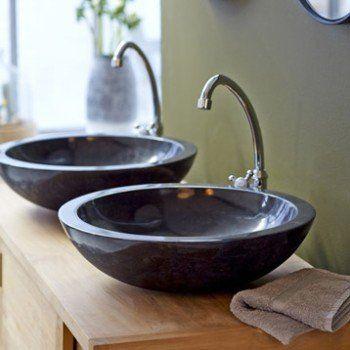 Vasque à poser marbre l.43 x P.43 cm Diam.43 cm noir, TIKAMOON Calypso | Leroy Merlin