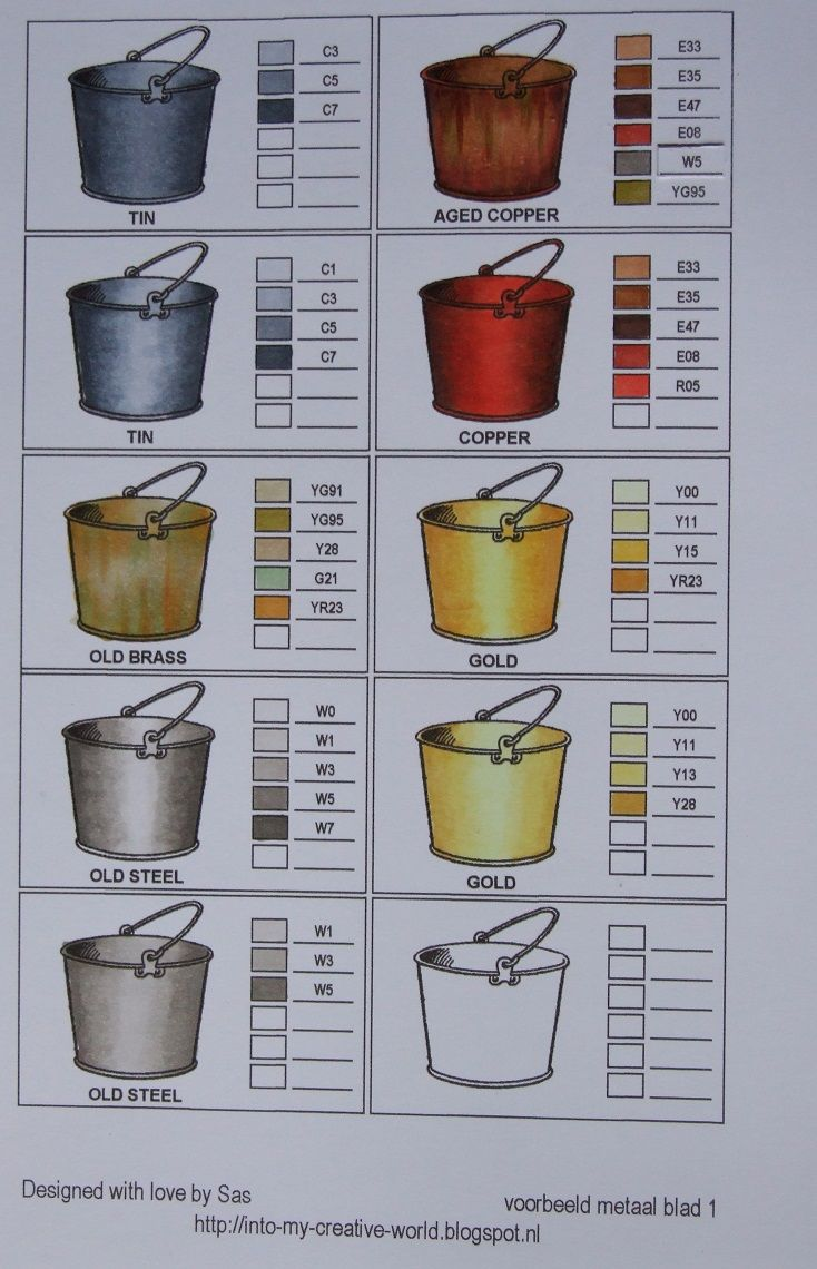 Coloring different metals with Copics