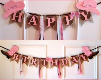 Cowgirl Happy Birthday Banner by LaLaLissyLou on Etsy