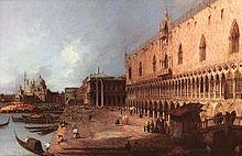 Canaletto Le Palais des Doges (1725, Columbus, columbus museum of art) - Antonio Canal, à 22 ans, devient à Rome l'élève de Pannini et peint alors des vues de la ville (Vues du Colisée) et de la campagne romaine. Puis il retourne à Venise en 1722 et durant 20 ans travaille pour l'Algarotti et pour un marchand de tableaux anglais J. Smith.