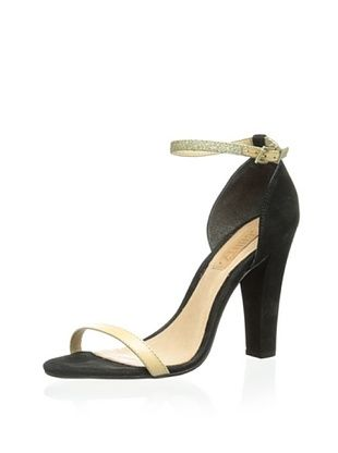 Schutz Women's Ankle Strap Sandal (Black/Gold/Natural)