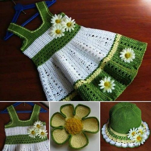 Crochet dress set free pattern,this has spring/summer written all over it.Very distinguished look for a little girl.