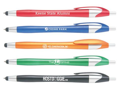 Ballpoint pen with stylus tip. Great tradeshow item. Five colors. Just .60 at 250 or more, no setup.