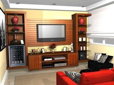 Painel para TV LCD em madeira 2