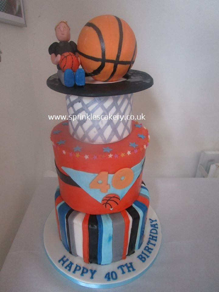 This 4 tiered basketball themed cake was for a friends 40th birthday celebrations and had to be stacked at the venue. The ball and net layers were in fact cake dummies, with just the topper and bottom 2 layers being edible.