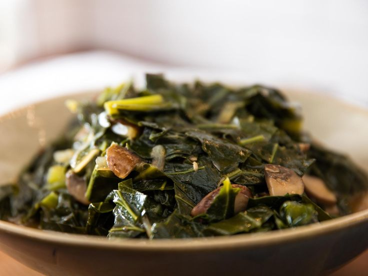 Classic Southern braised collards are simmered with smoked pork for a rich and meaty flavor. This vegan version re-creates all of the dish's most important qualities—a deep, rich, and savory pot likker (broth); meaty bits (in this case, mushrooms) studded