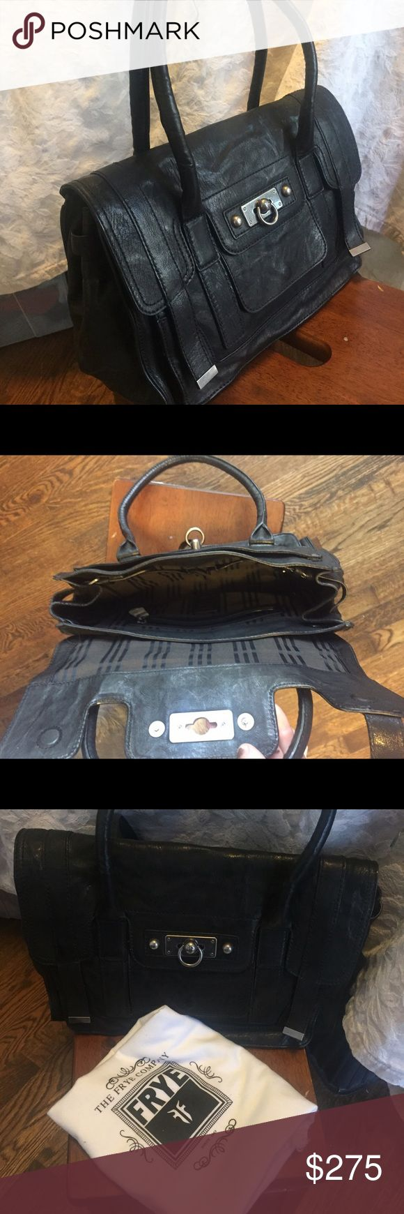 """Frye Leather Satchel with Dust Bag This buttery soft black leather satchel with silver/pewter hardware. Magnetic front flap closure with ring clasp.  Two top handles, purse can be carried tucked under arm or hang at crook. 14"""" length x 10""""height x 5"""" wide. Found a small 1.5"""" silver mark while inspecting this for sale- didn't know it existed before this posting so very discreet!! Frye Bags Satchels"""