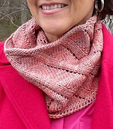 Free Knitting Pattern for 2 Row Repeat Bias Rib Cowl - Easy cowl knit in the barley sugar bias rib stitch with a 2 row repeat. Birthday Cowl designed by Nova Seals. Pictured project by sadie21jean