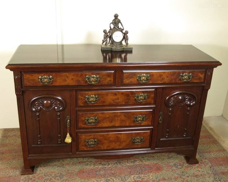 Antique English Burr Walnut Sideboard/Buffet / Credenza with Carved doors c1900's.  by jacaranda-antiques - $1,450.00