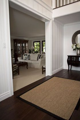 New England Style,Traditional, Classic Hallway and Living Room Includes: Wood Floors, Wood Bead Board, Crown Molding, Wood Windows, Paint & Stained Wood Work, Wall-to-Wall Carpet