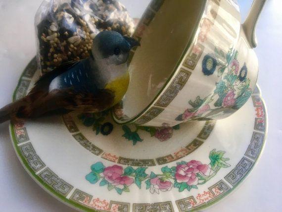 Repurposed Tea Cup Bird Feeder Vintage Tea Cup Art by mscenna