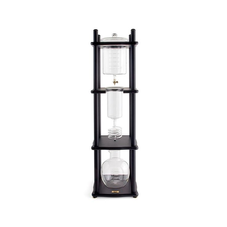 Yama Cold Drip Coffee Maker (25 Cup) w Straight Black Wood Frame
