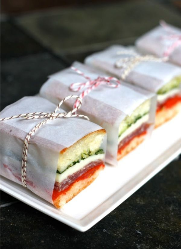 Pressed sandwiches for a lovely birthday picnic. We think these are a great idea!