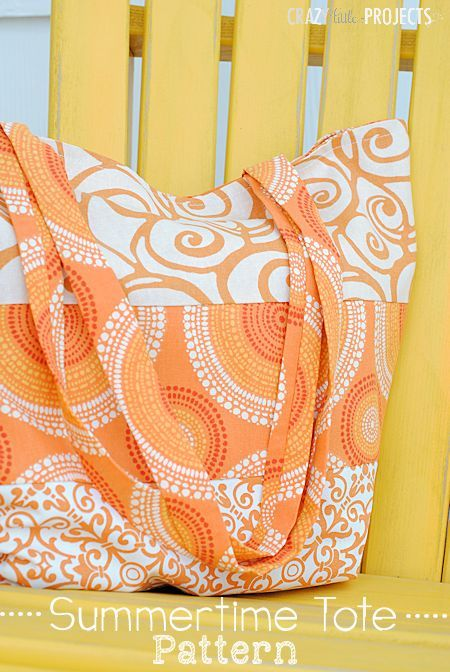 Citrus Summertime Tote - Free Sewing Project by Amber of Crazy Little Projects
